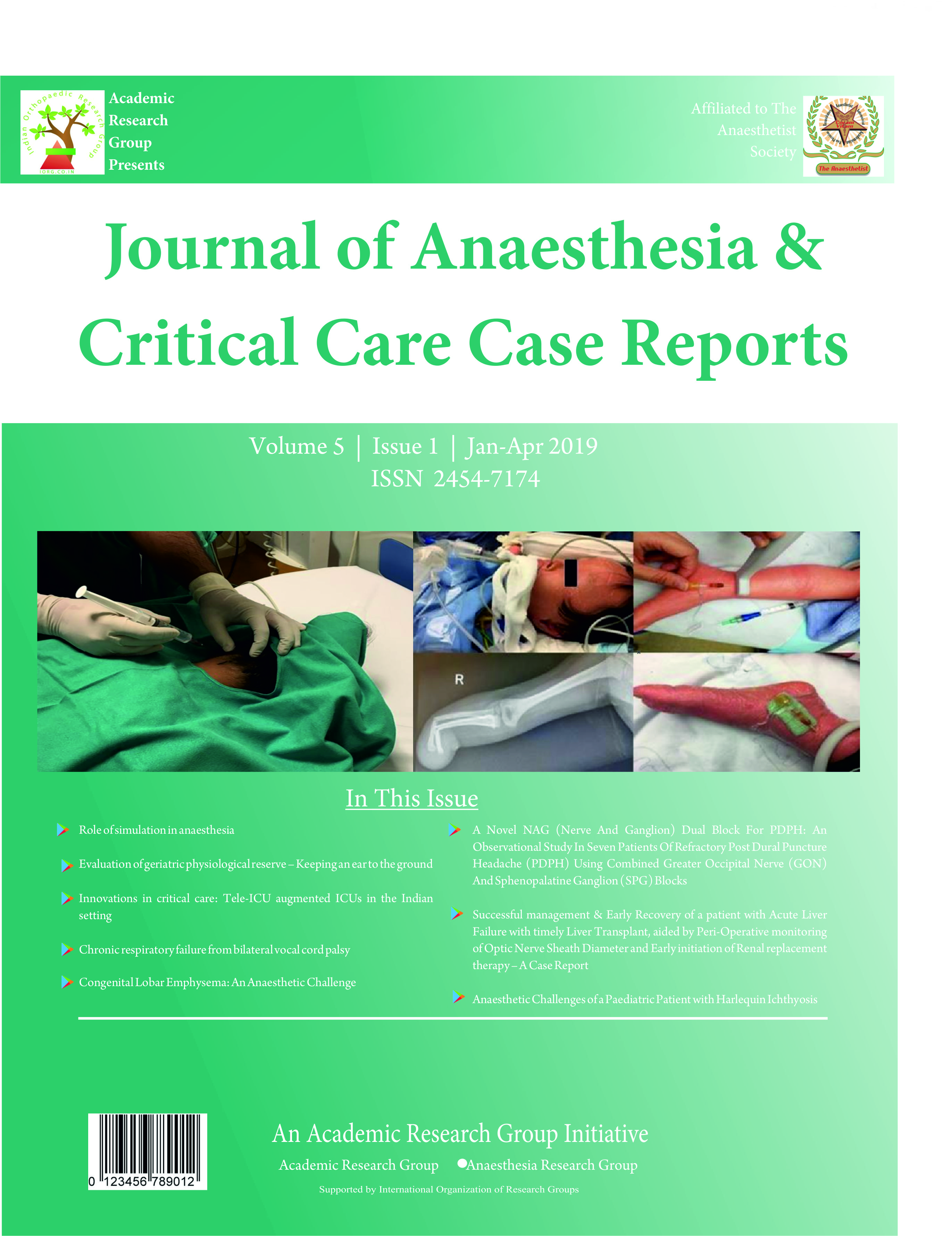 Journal of Anaesthesia & Critical Care Case Reports